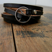 Leather Wrap Bracelet in Black leather with silver by Fullofcraft
