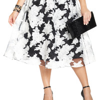 ING Plus Size Floral-Print A-Line Midi Skirt
