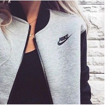 """NIKE""Trending Fashion Casual Women Long Sleeve Zip Cardigan Jacket Coat G"