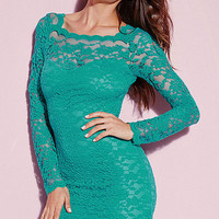 V-Back Long Sleeves Green Lace Mini Dress