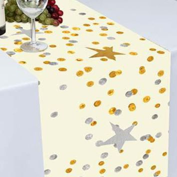 Twinkle Twinkle Little Star Gold and Silver Printed Cloth Table Runner - PTR124