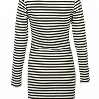 Monochrome Stripe Bodycon Dress