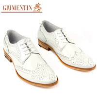 vintage Fashion oxfords white mens wedding dress shoes casual genuine leather