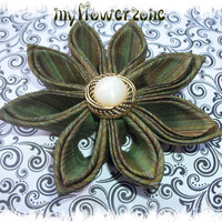 Kanzashi Flower Olive green and Raspberry Bicolor Silk Flower Hair accessory