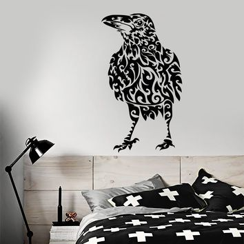 Vinyl Wall Decal Abstract Raven Bird Gothic Style Stickers (2261ig)