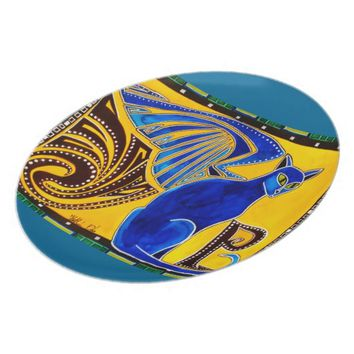 Winged Feline Hybrid Warrior Cat Design Dinner Plate