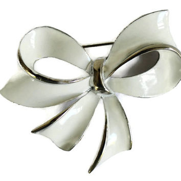 Vintage Bow Brooch In White Enamel and Silver Tone  Christmas Bow Brooch