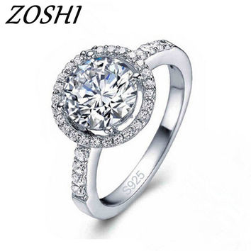 ZOSHI 2017 Fashion Ring CZ Crystal Silver Color Engagement Wedding Rings For Women Anniversary Finger Size 6-10 Fine Jewelry