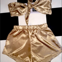SWEET LORD O'MIGHTY! BABYGIRL SILK SET IN SANDSTONE