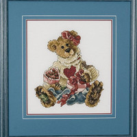 Teddy Bear Bailey and Her Heart's Chocolate Desire - A Framed Cross Stitch Picture