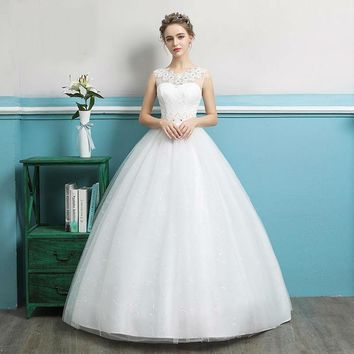 Arrival Queen Ball Gown Crystal Pattern Pearls Marriage Sweetheart Wedding Dress Backless