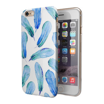 Blue Watercolor Feather Pattern 2-Piece Hybrid INK-Fuzed Case for the iPhone 6/6s or 6/6s Plus