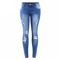 Women Ripped Faded Jeans