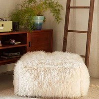 Faux Fur Pouf- White One