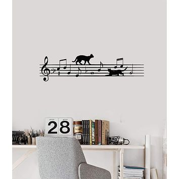 Vinyl Wall Decal Music Cats Musical Notes Animals Pets Kids Room Interior Stickers Mural (ig5845)