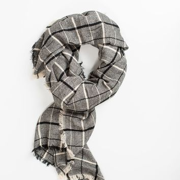 Celia Black Grid Scarf