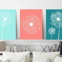 DANDELION Wall Art, Coral Aqua Teal Bedroom Pictures, Dandelion Decor, CANVAS or Prints, Bathroom Decor, Dorm Room Decor, Set of 3 Pictures