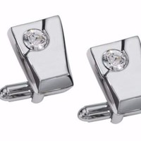Visol The Diamond Inlaid Crystal Stainless Steel Cufflinks