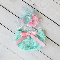 Cake Smash Set- Pink and Aqua Lace Diaper Cover, Headband, Leggings, bloomers, newborn, baby girl, toddler, birthday, photo prop