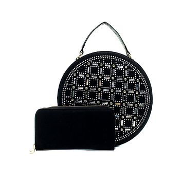 Rhinestone Studded Black Vegan Leather Round Handbag with Matching Zippered Wallet
