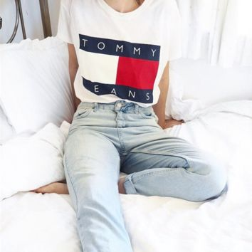 Casual Loose Tommy Print Short Sleeve T Shirt