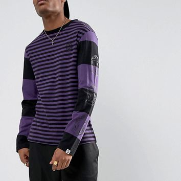 Billionaire Boys Club Striped Long Sleeve T-Shirt With Back Print in Black at asos.com