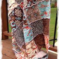Rag Quilt Queen Size Aviary 2 Brown Aqua Saffron Orange Modern Bedding Handmade