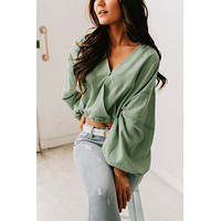 Toss The Dice Surplice Long Sleeve Top (Sage)
