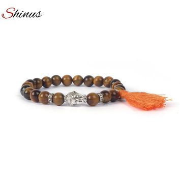 Shinus Buddha Bracelet Men Strand Beaded Bracelets  Tassel Jewelry Natural Tiger Eye Stone Pulseras Mujer Yoga Meditation Beads