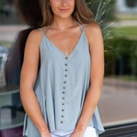 Sweet Carolina Double V Neck Top : Cool Grey