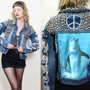 90s Vintage STUDDED Dolphin JACKET Seapunk PATCH Peace Sign Denim Stud Sea Punk Grunge Batik Tie-Dye Distressed xs-m ooak