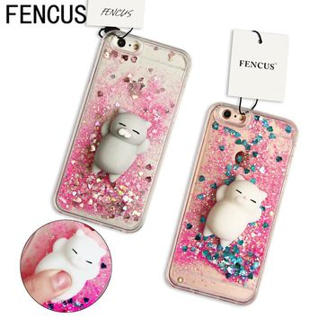 FENCUS Case for iPhone 6 6s 5SE Case 3D Soft Silicone Cat Squishy Kneading Silicon TPU Phone Case Cover for iPhone 6P 7P 7 Cases