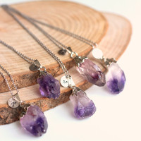 Customizable natural amethyst necklace with your initial on a metal tag, a perfect gift for wedding, christmas, mother's day, bridal gift