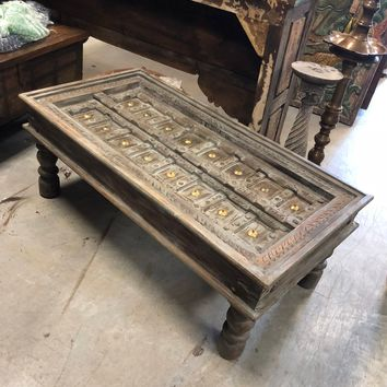 Antique Gray Handcarved Coffee Table Unique Hotel Design Rustic Vintage Furniture Farmhouse Decor