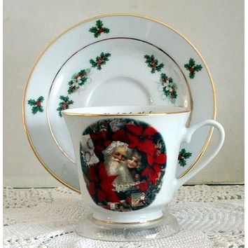 Catherine Porcelain Tea Cup and Saucer Set of 2 - Christmas Santa