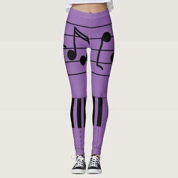 Music Notes and Keyboard Leggings