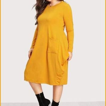 Extended Sizes Plus Dual Pocket Cocoon Dress