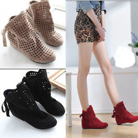 New Summer Cute Women's Bowknot Flat Heels Ankle Sandals Ladies Boots Shoes