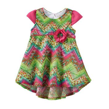 Rare Editions Chevron Dress - Baby Girl, Size: