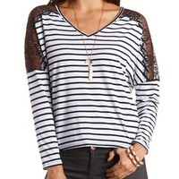 Striped Lace Shoulder Dolman Top by Charlotte Russe