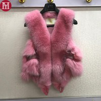 100% real natural fox fur vest fashion winter sleeveless like whole fox coats 2017 lady good quality natural real fox fur gilet