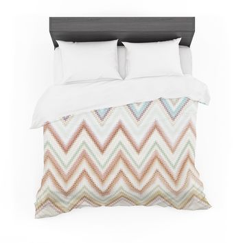 "Nika Martinez ""Seventies Chevron"" Beige Pattern Featherweight Duvet Cover"
