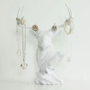 Deer Tabletop Jewelry Rack | Faux Taxidermy| White Resin
