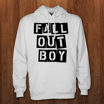 fall out boy logo Hoodie for size s-3xl, for color black, white, gray, and red