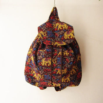 tribal rucksack,elephant hippie backpack,boho rucksack, navajo aztec school bag, native american weekender bag gift idea