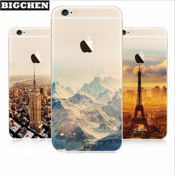 Soft TPU Case For iPhone X 8 7 Plus 6 6s plus 5s 5 Ultra Thin Luxury Mountain Landscape Cases For iphone 8 plus Phone Back Cover
