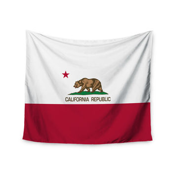 "Bruce Stanfield ""California State Flag"" Red White Wall Tapestry"