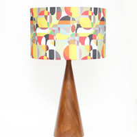 "Modern Lamp Shade - 14"" Drum - Mid Century Modern Print - Orange, Yellow, Red, White, Black"