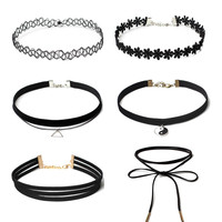 8Pcs/Set Collares Stretch Tattoo Choker Necklace Punk Retro Gothic Black Velvet Rope Necklaces For Women Christmas Gifts