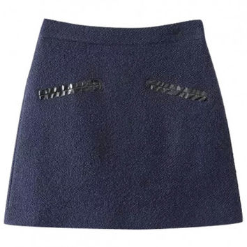 Plain High Waist PU Patchwork A-Line Tweed Mini Skirt